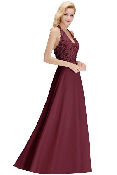 Halter Composite Emulation Silk A-line Floor Length Bridesmaid Dress_33