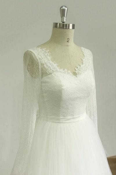 Elegent Long Sleeve V-neck Lace Tulle Wedding Dress_4