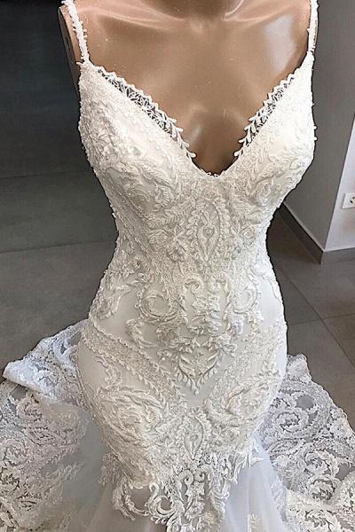 Amazing Appliques Tulle Mermaid Wedding Dress_4