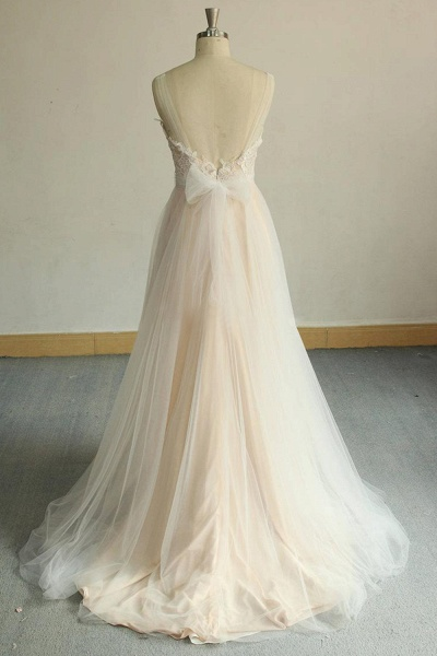 Awesome Illusion Lace Tulle A-line Wedding Dress_5
