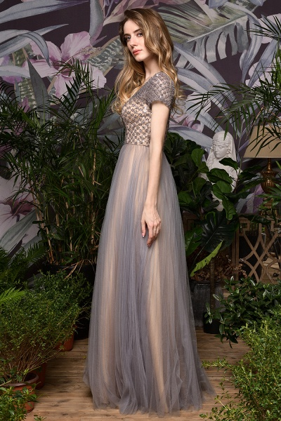Stunning Short Sleeves Squared Sequined Tulle Prom Dress_10