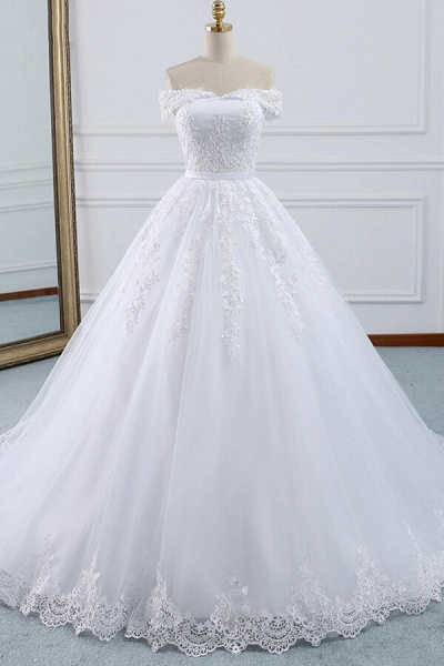 Lace-up Off Shoulder Appliques Tulle Wedding Dress_1