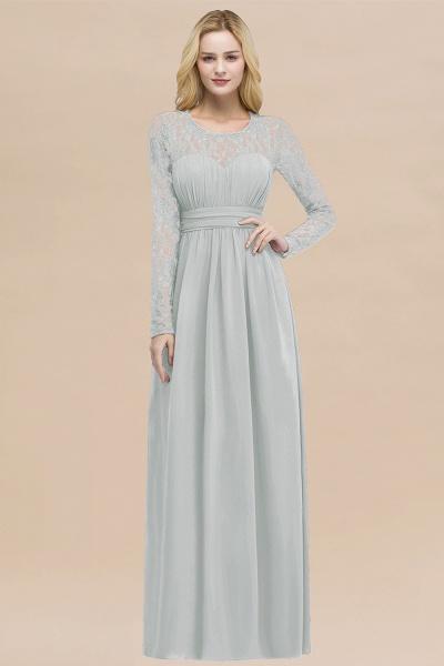 Elegant A-Line Chiffon Jewel Long Sleeves Ruffles Floor-Length Bridesmaid Dresses_38