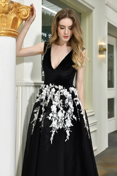 Appliques V-neck Floor Length A-line Prom Dress_11