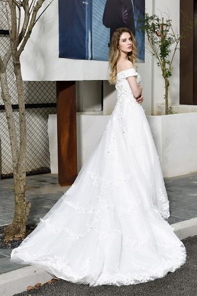 Gorgeous A-Line Lace Off Shoulder Wedding Dress_8