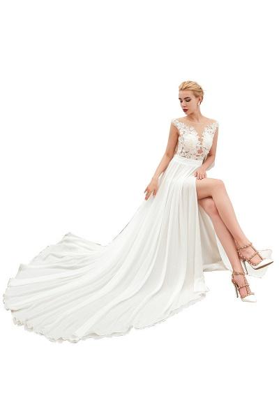 High Slit Appliques Chiffon A-line Wedding Dress_1