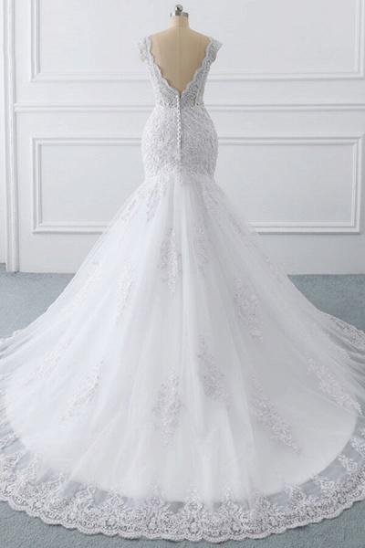 Chic V-neck Appliques Mermaid Tulle Wedding Dress_2