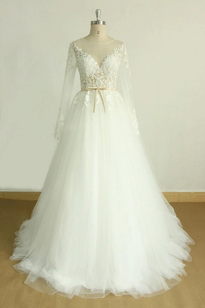 Long Sleeve Appliques Tulle A-line Wedding Dress_2