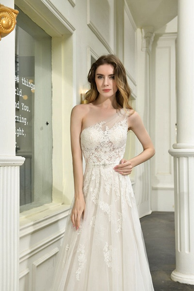 Chic One Shoulder Tulle Lace A-Line Wedding Dress_11