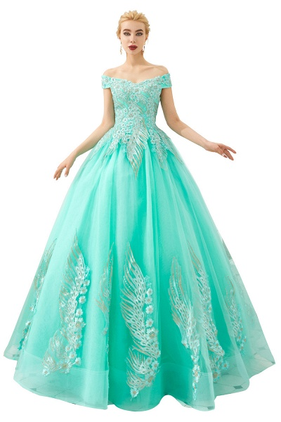 Beautiful Off-the-shoulder Tulle Ball Gown Prom Dress_2