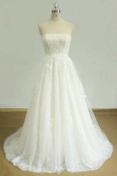 Strapless Appliques Tulle A-line Wedding Dress_1