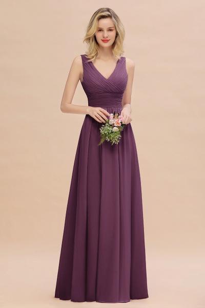 BM0752 Elegant A-line V-Neck Ruffles Long Bridesmaid Dress_20