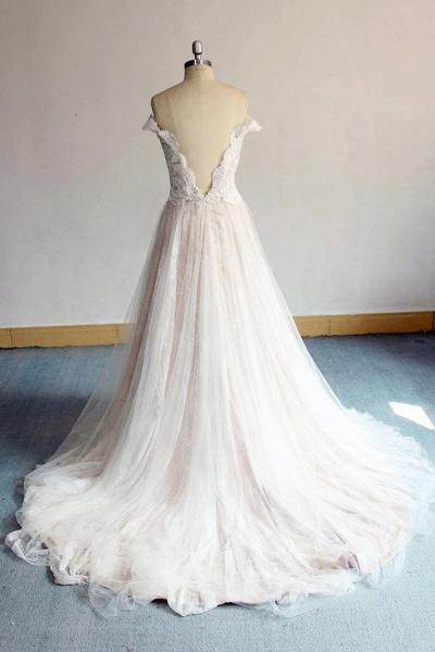 Latest Off Shoulder Lace Tulle A-line Wedding Dress_3