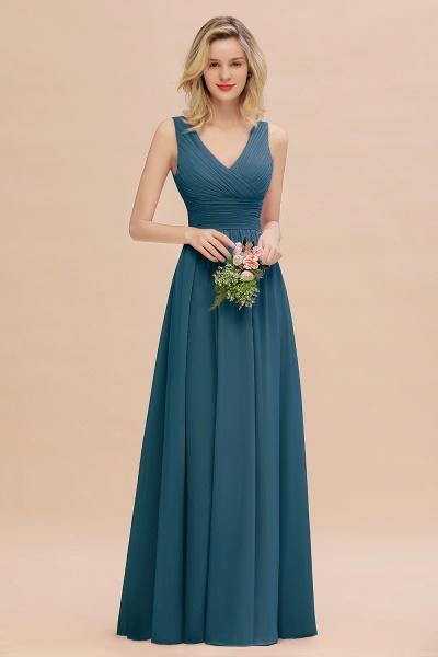 BM0752 Elegant A-line V-Neck Ruffles Long Bridesmaid Dress_27