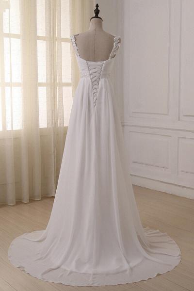 Ruffle V-neck Empire Chiffon A-line Wedding Dress_5