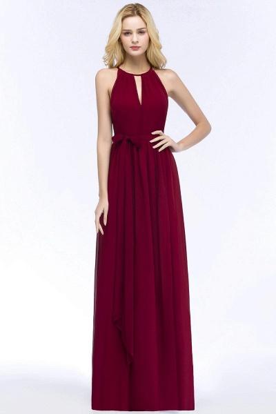 A-line Halter Floor Length Burgundy Bridesmaid Dresses with Bow Sash_1