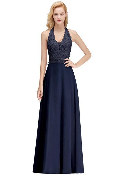 Halter Composite Emulation Silk A-line Floor Length Bridesmaid Dress_14