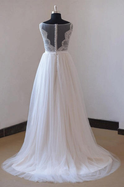 Chic Lace Floor Length Tulle A-line Wedding Dress_3