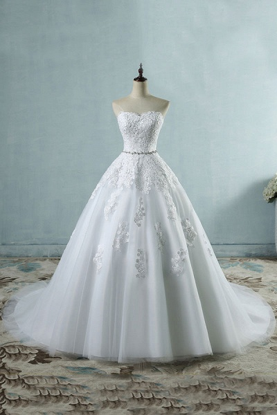 Strapless Appliques Tulle A-line Wedding Dress_2