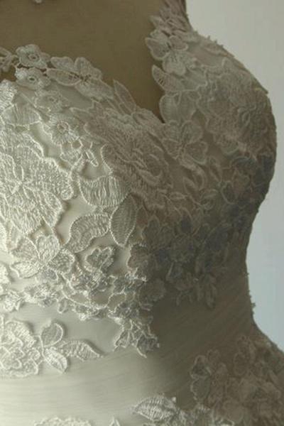 Illusion Lace Tulle A-Line Mini Wedding Dress_9