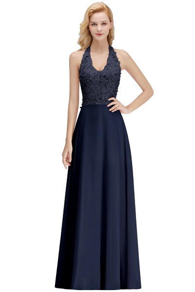 Halter Composite Emulation Silk A-line Floor Length Bridesmaid Dress_4