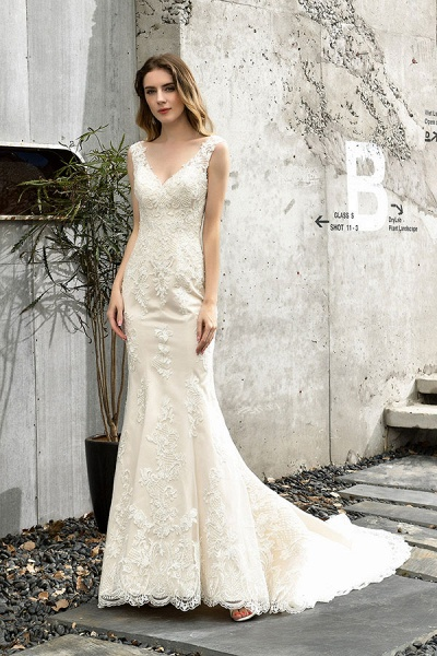 Glamorous Mermaid Satin Lace Open Back Wedding Dress_6