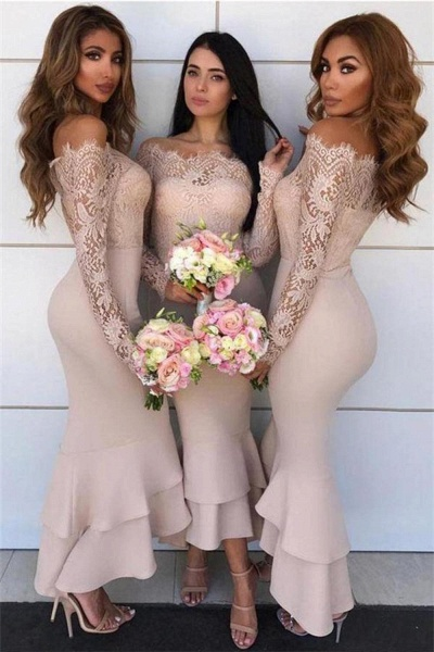 Graceful Lace Long Sleeve Mermaid Bridesmaid Dress_4