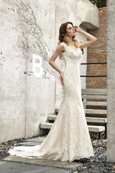 Glamorous Mermaid Satin Lace Open Back Wedding Dress_8