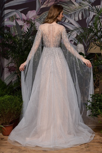 Luxury Shawl Sequined A-line Long Prom Dress_21