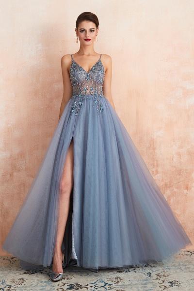 Best V-neck Tulle A-line Prom Dress_9