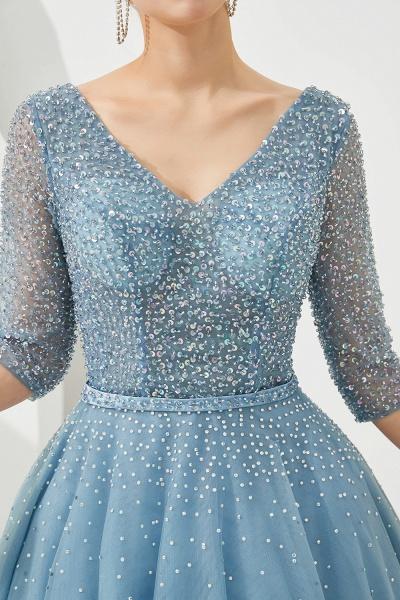 Chic V-neck Tulle A-line Prom Dress_9