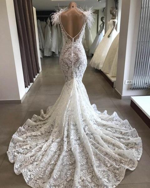 Glorious Beading Appliques Mermaid Wedding Dress_3