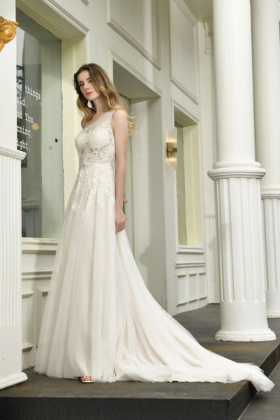 Chic One Shoulder Tulle Lace A-Line Wedding Dress_4