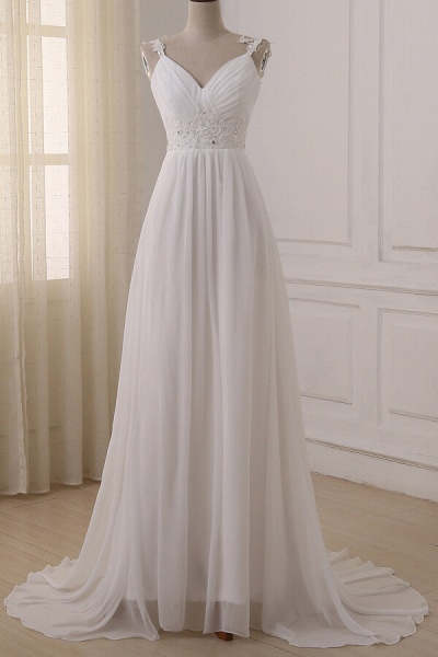 Ruffle V-neck Empire Chiffon A-line Wedding Dress_1