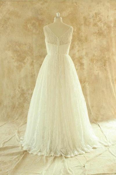 Craceful Lace A-Line Floor Length Wedding Dress_3