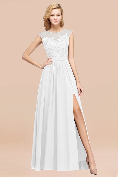 A-line Chiffon Lace Jewel Sleeveless Floor-Length Bridesmaid Dresses with Appliques_1