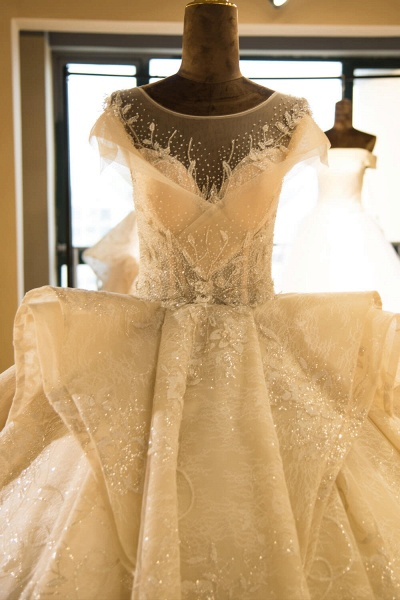 Cap Sleeve Appliques Tulle A-line Wedding Dress_4