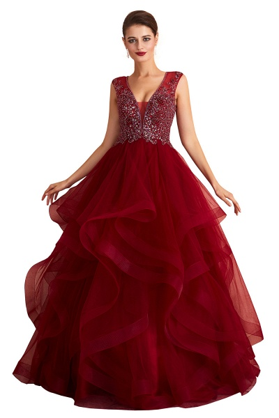 Wonderful V-neck Tulle A-line Prom Dress_1