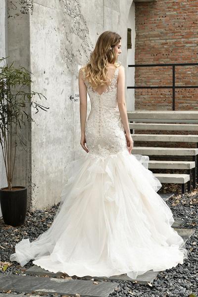 Gorgeous Appliques Mermaid Organza Wedding Dress_3