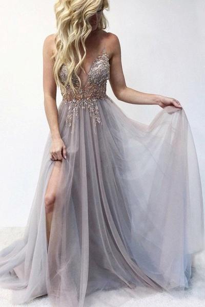 Best V-neck Tulle A-line Prom Dress_6