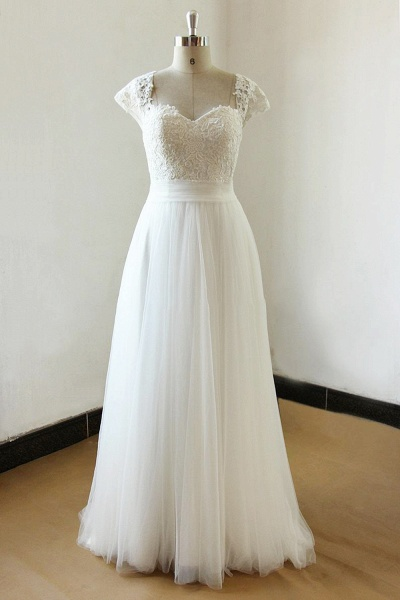 Graceful Off The Shoulder Lace Tulle Ball Gown Wedding Dress_1