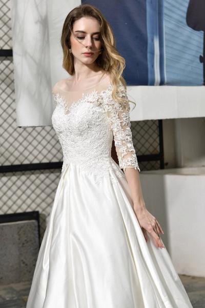 Lace Half Sleeves V Neck Sheer Tulle Wedding Dress_11