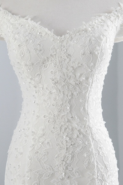 Off Shoulder Lace-up Mermaid Lace Wedding Dress_7