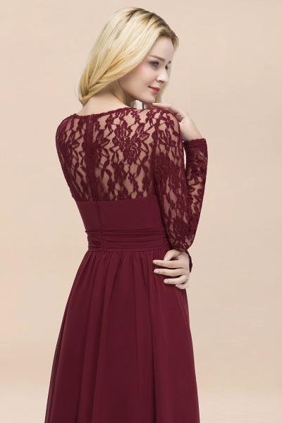Elegant A-Line Chiffon Jewel Long Sleeves Ruffles Floor-Length Bridesmaid Dresses_55