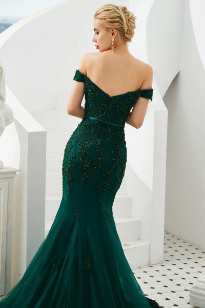 Elegant Off-the-shoulder Tulle Mermaid Prom Dress_7