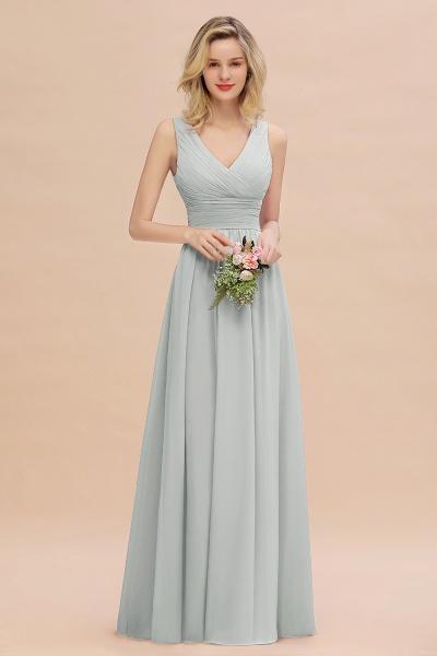 BM0752 Elegant A-line V-Neck Ruffles Long Bridesmaid Dress_38