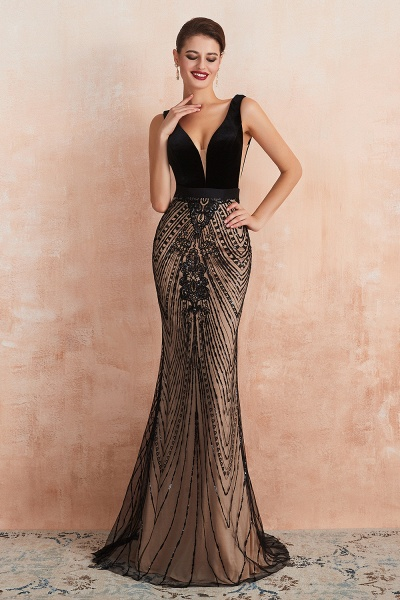 Exquisite V-neck Lace Mermaid Prom Dress_4