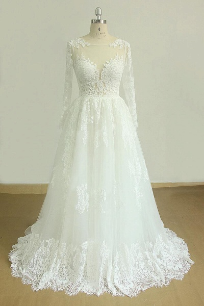Back Cut-out Long Sleeve Tulle A-line Wedding Dress_1