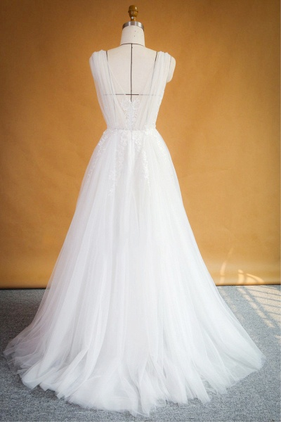 Ruffle Applqiues Tulle A-line Wedding Dress_3