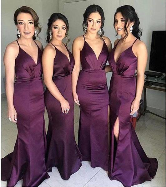 V-neck Emulation Silk Elastic Mermaid Floor Length Bridesmaid Dress_1